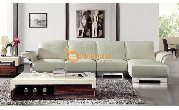 Bộ ghế sofa phòng khách nhập khẩu sắc trắng cao cấp