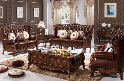 Sofa phòng khách gỗ sồi cổ điển quý tộc kiểu dáng sang trọng