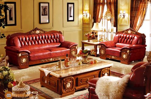 Bộ ghế sofa phòng khách cổ điển sắc đỏ tinh tế sang trọng