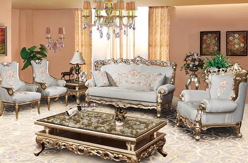 Bộ sofa phòng khách nhập khẩu kiểu dáng Châu Âu
