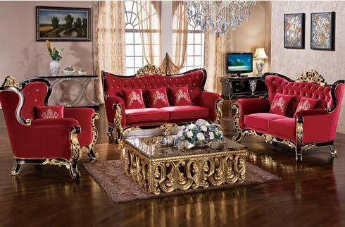 Bộ sofa da tân cổ điển kiểu dáng sang trọng thời thượng
