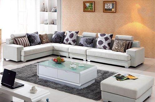 Sofa da màu trắng hiện đại