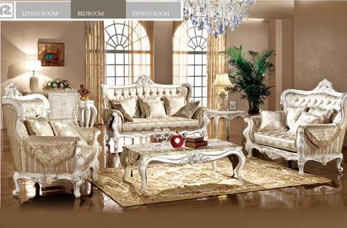 Sofa phòng khách hoàng gia màu da quý phái