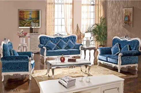 Sofa phòng khách hoàng gia màu xanh tân cổ điển