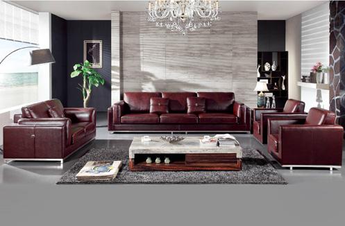 Sofa da sắc nâu đỏ kiểu dáng quý tộc