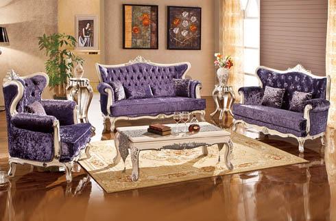 Sofa da bò sắc tím sang trọng