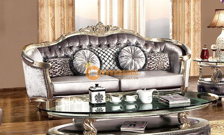 Sofa da tone màu trầm phong cách Hoàng Gia