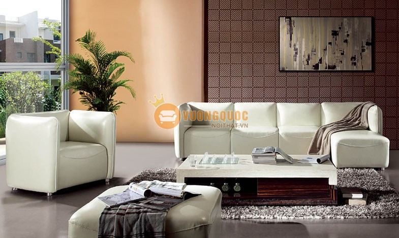 Bộ sofa phòng khách nhập khẩu sắc trắng quyến rũ