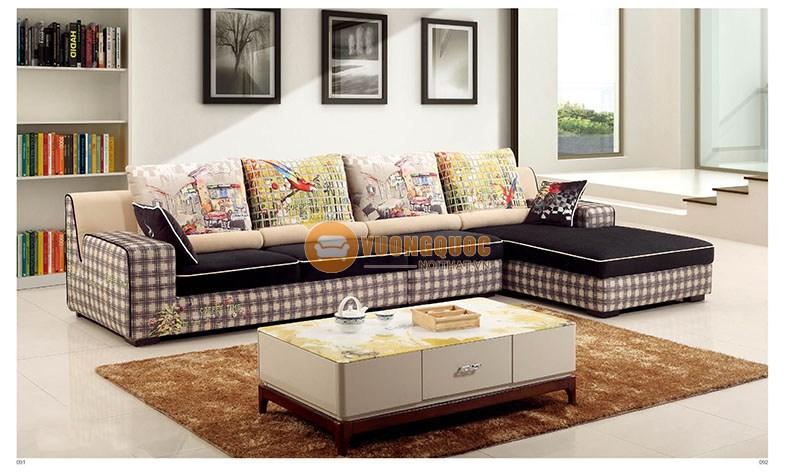 Ghế sofa phòng khách hiện đại họa tiết caro