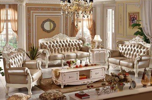 Bộ sofa kiểu dáng Châu Âu chất liệu da bò bền đẹp
