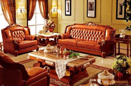 Bộ sofa phòng khách cổ điển kiểu quý phái hiện đại
