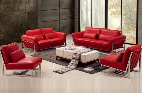 Bộ sofa phòng khách nhập khẩu sắc đỏ sang chảnh