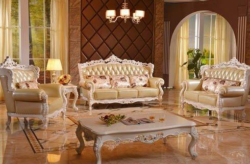 Bộ sofa phòng khách tân cổ điển sắc trắng tinh khôi