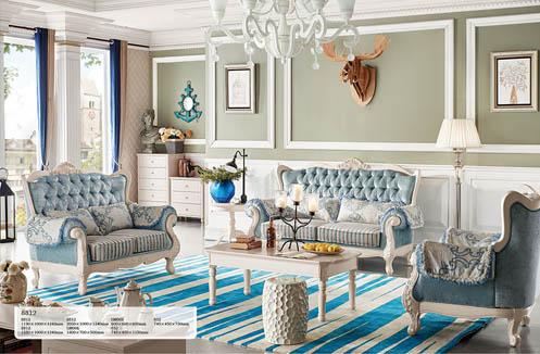 Ghế sofa phòng khách tân cổ điển màu xanh hoàn mỹ