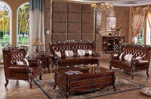 Sofa phòng khách cổ điển nâu sang trọng