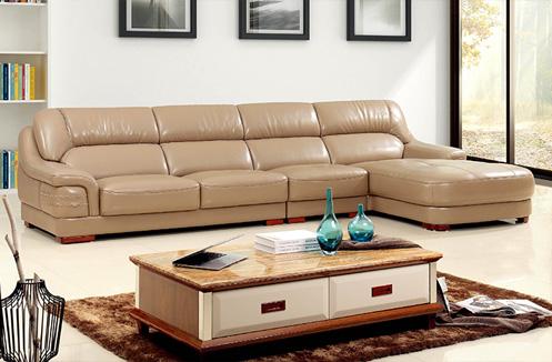 Bộ sofa phòng khách màu da hình chữ L quý phái