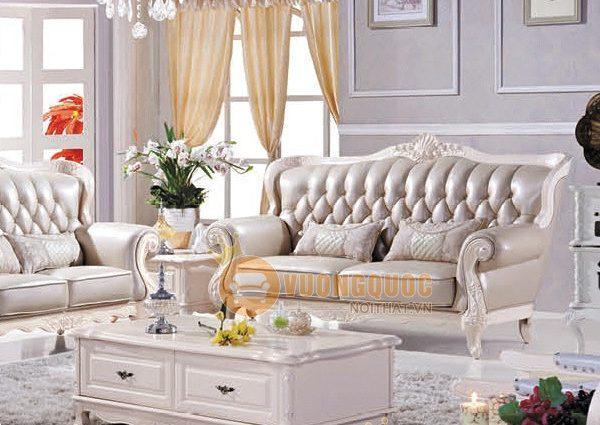 Sofa phòng khách sắc kem sang trọng hiện đại