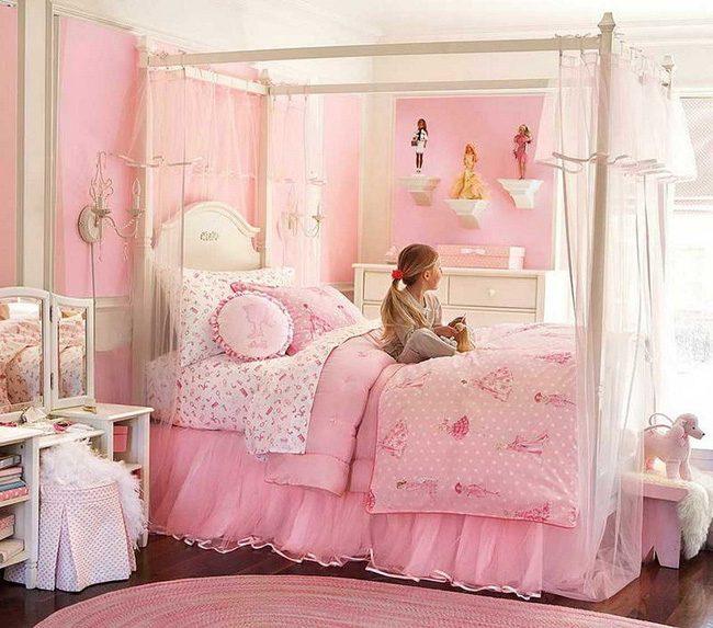 9 mẫu giường công chúa màu hồng bé gái nào cũng thích